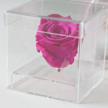 Clear Acrylic Flower Box With Lid, Single Acrylic Rose Display Box