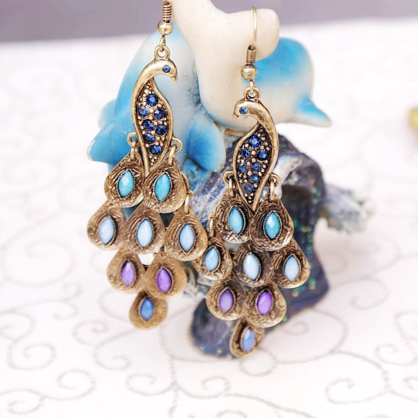 fc371e6fa910cc Get Quotations · CCE020 Favorite Of Many Women New Design Retro Crystal Peacock  Earring Fashion Jewelry Bohemian Vintage Drop