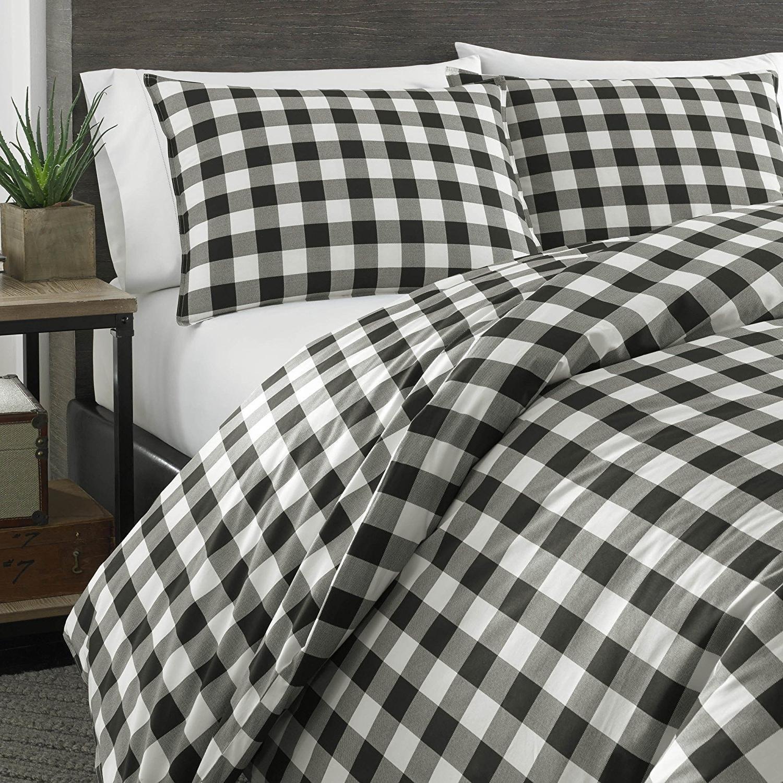 MS 3pc Black White Grey Gingham Plaid Themed Comforter Full Queen Set, Cotton Gray, Classic Checkered Tattersail Tartan Theme Pattern, Lodge Cabin Shepherds Check Bedding