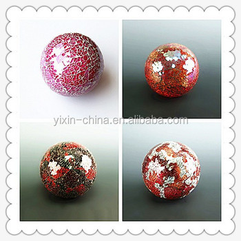 red color glass decoration pieces ball sea shell mosaic glass home decoration ball