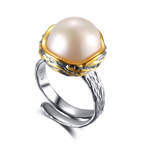 925 sterling silver ring with freshwater pearl on centre decoration women ring jewelry