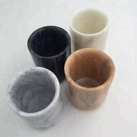 Stone holders carrara cup black white marble candle jars