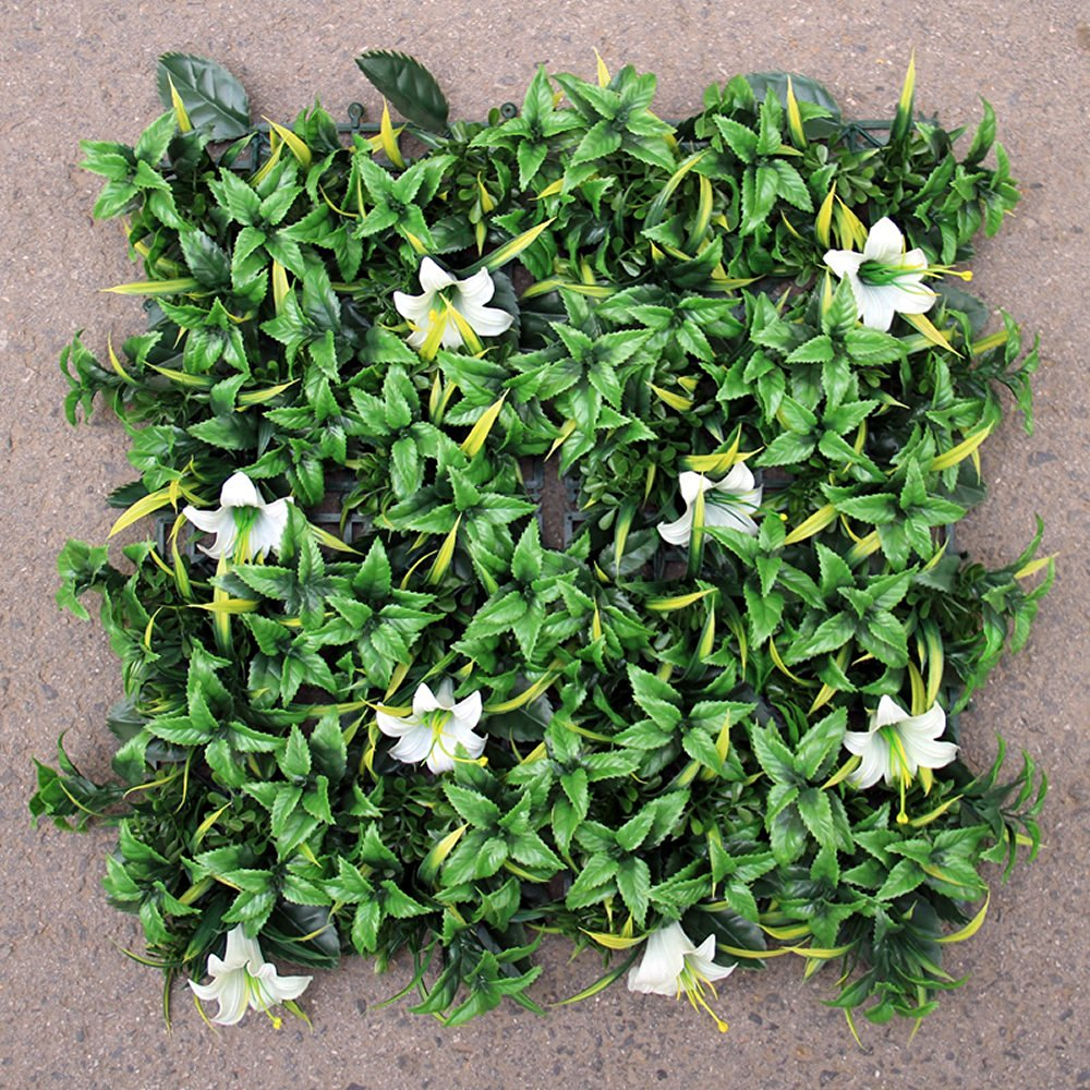 Get Quotations · SUNWING 33 Sq.ft Artificial Lily Flower Hedge Mat UV  Elegant White Hedge Mat For