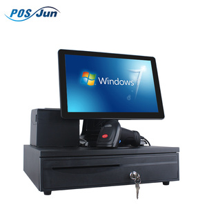 Complete set of all in one 10 point capacitive touch pos system pos with thermal printer, cash drawer, barcode scanner