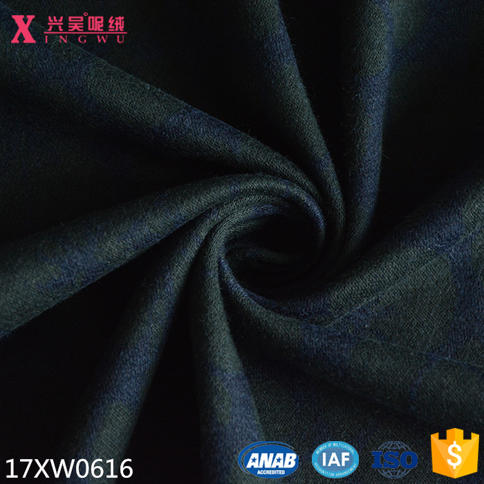 17XW0616 wool nylon cotton polyester blend jacquard flannel knitted fabric