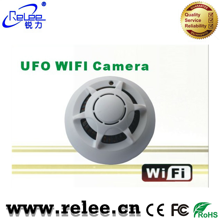 HD 720P CCTV camera UFO style Wireless P2P WiFi Smoke Detect camera