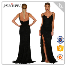 Sexy Black Lacy Lace Bridal Wedding Slit Evening Gown