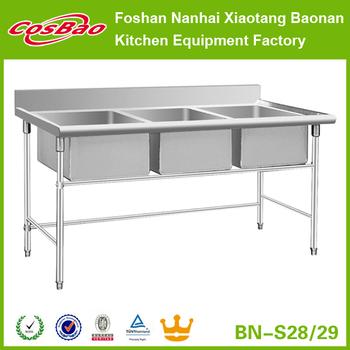 Restaurant Kitchen Equipment 3 Compartment Stainless Steel Sink ...