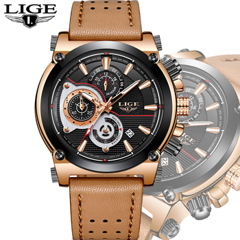 e15ab1678dd 2018 LIGE Mens Watches LG9854A-Gold Brown Top Brand Luxury Quartz Gold Watch  Men Casual Leather