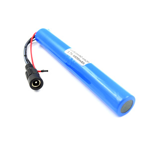 Rechargeable cylinder 3.7v 4400mAh lithium li-ion 18650 battery pack for led lights with connector