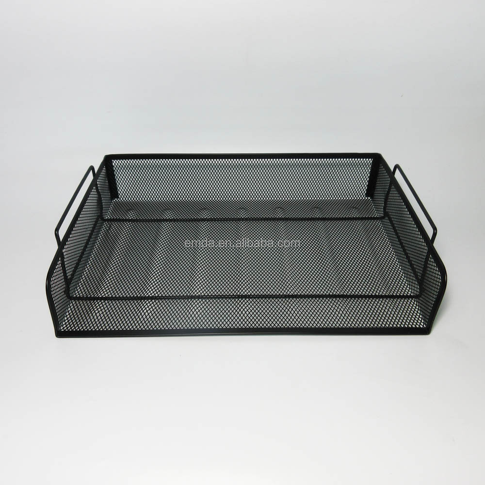 Office desktop metal wire mesh stationery letter document holder 2 tire stacking file tray