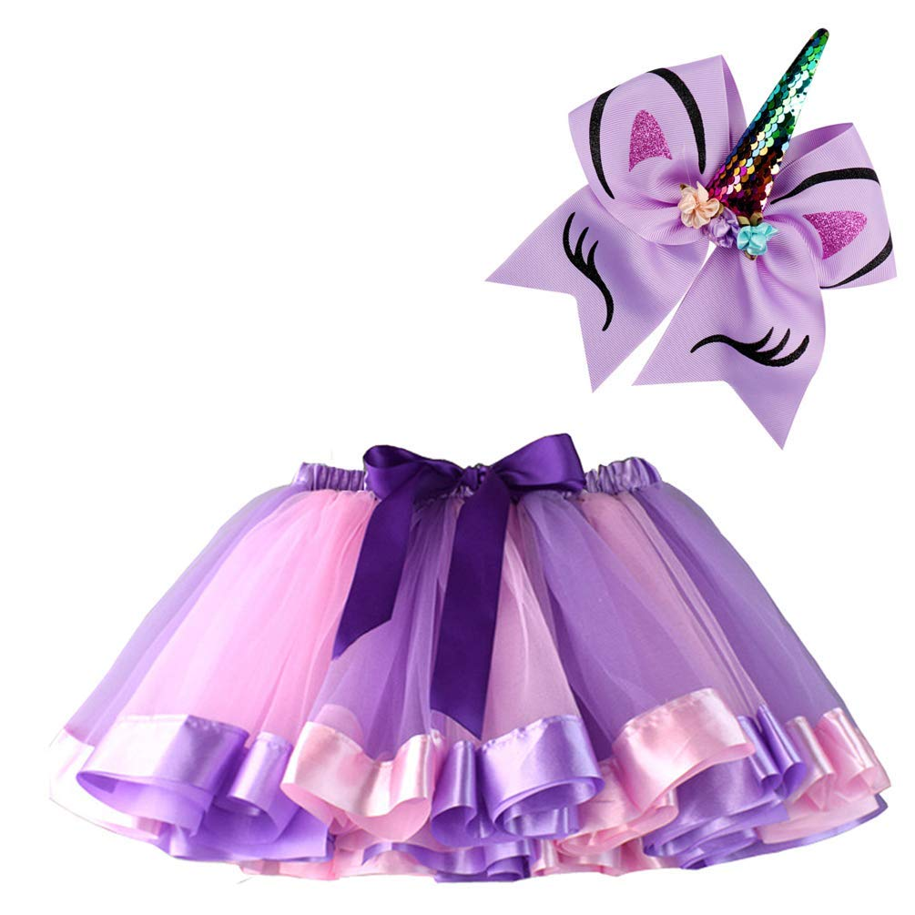 39ebea49776bd Get Quotations · BGFKS Layered Ballet Tulle Rainbow Tutu Skirt for Little  Girls Dress Up with Matching Sparkly Unicorn