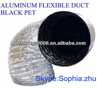 BLACK PET SINGLE LAYER FLEXIBLE ALUMINUM AIR CONDITIONING DUCT FOR HVAC SYSTEM AND PARTS MANUFACTURER