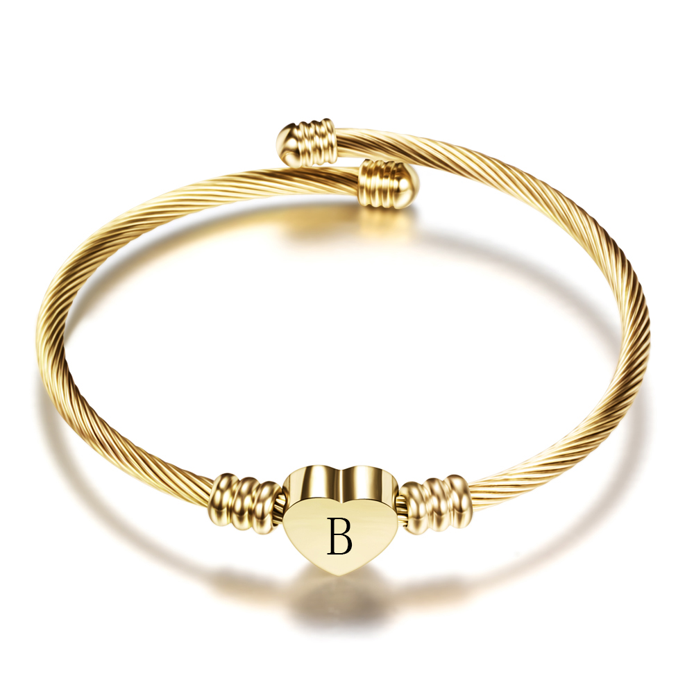 Woman Initial Jewelry Stainless Steel Expandable Cable Wire Bracelet Womens Heart Letter Charm Bracelets Bangles