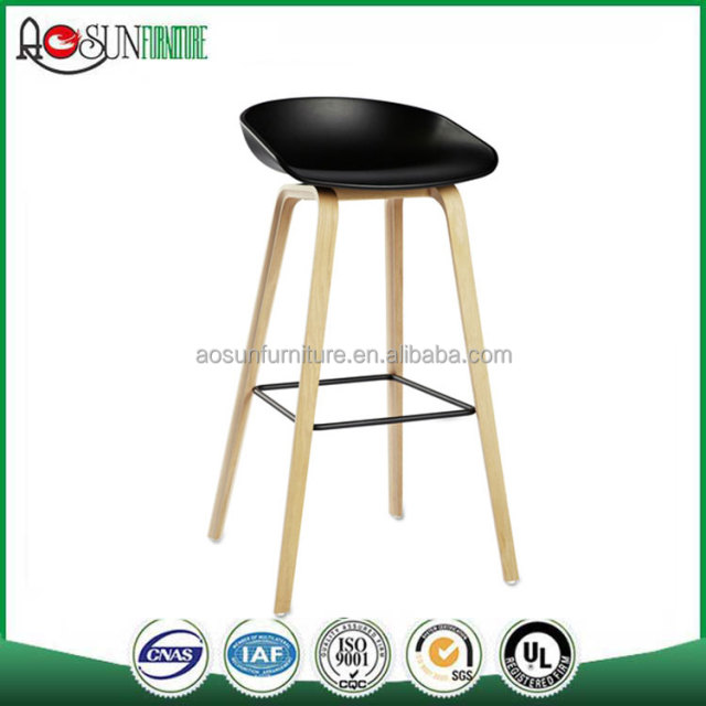 Cheap PP Bar Stool Plastic Dining Chair PP Bar Stool with wooden legs For Sale