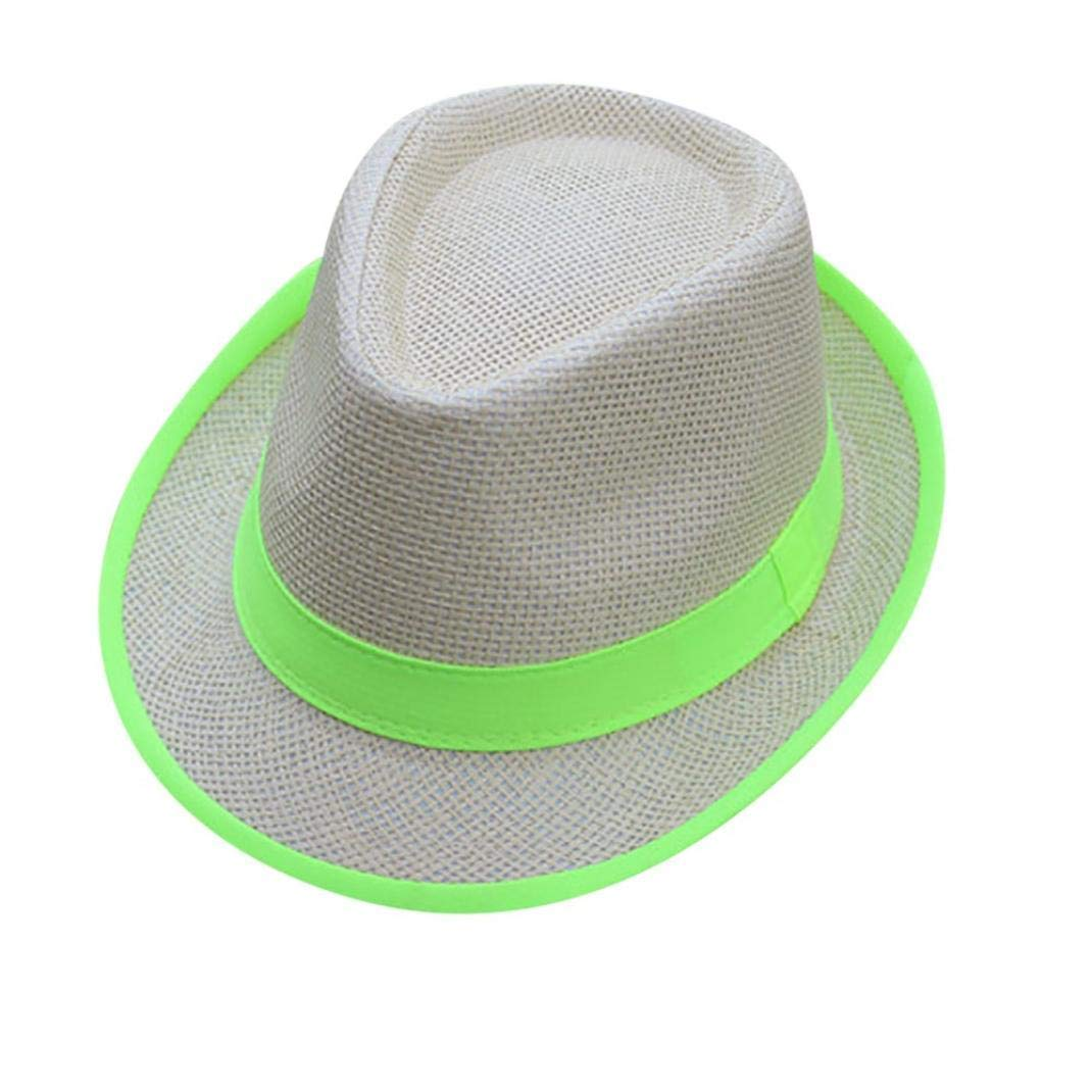 3ada7a66faa Get Quotations · LIULIULIUUnisex Men Women Beach Straw Hat Jazz Panama  Trilby Fedora Hat Gangster Cap (Green)