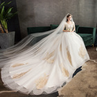 2019 Summer Luxury Big V neck Half Sleeve Beaded Champagne Lace Decoration Wedding Gown with Long Tail