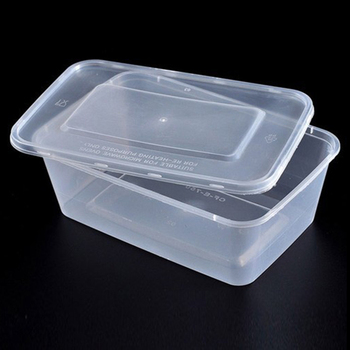 Plastic Microwave Safe Disposable Takeaway Food Container Rectangle 750ml