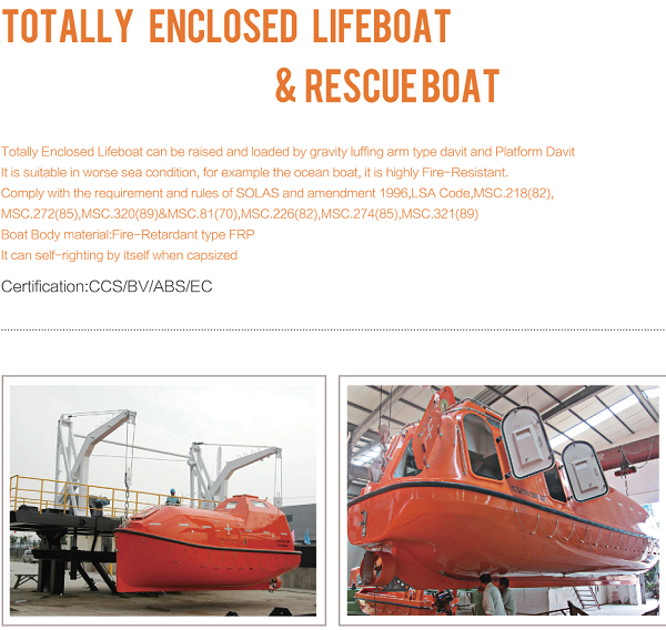 Totally Enclosed Marine Lifeboat 25 Persons For Sale