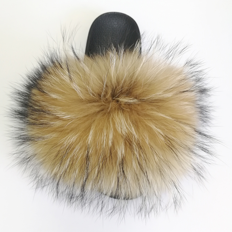 Wholesale More Fluffy Raccoon Fur Slides <strong>Slippers</strong> for Women