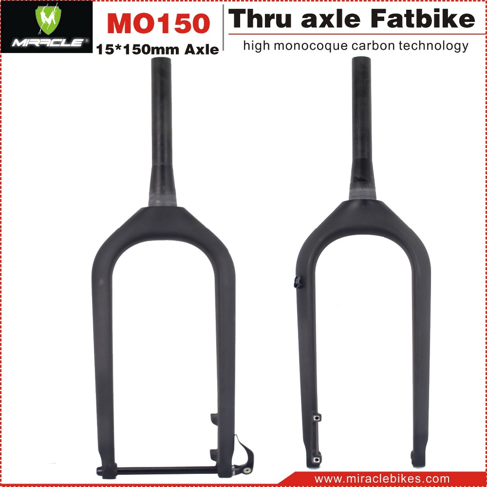 Miracle new design fatbikes carbon fork,15*150mm thru axle fatbike carbon fork,fatbike carbon fork 2016 design