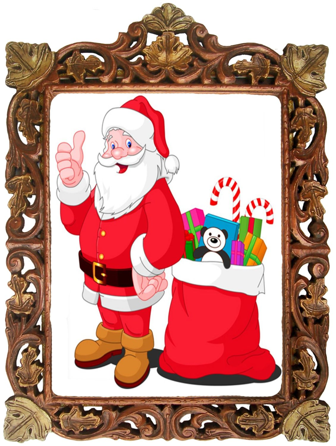 Buy santa claus with gifts poster framed in wood craft frame santa claus with gifts poster framed in wood craft frame indian wood decorative frame jeuxipadfo Choice Image