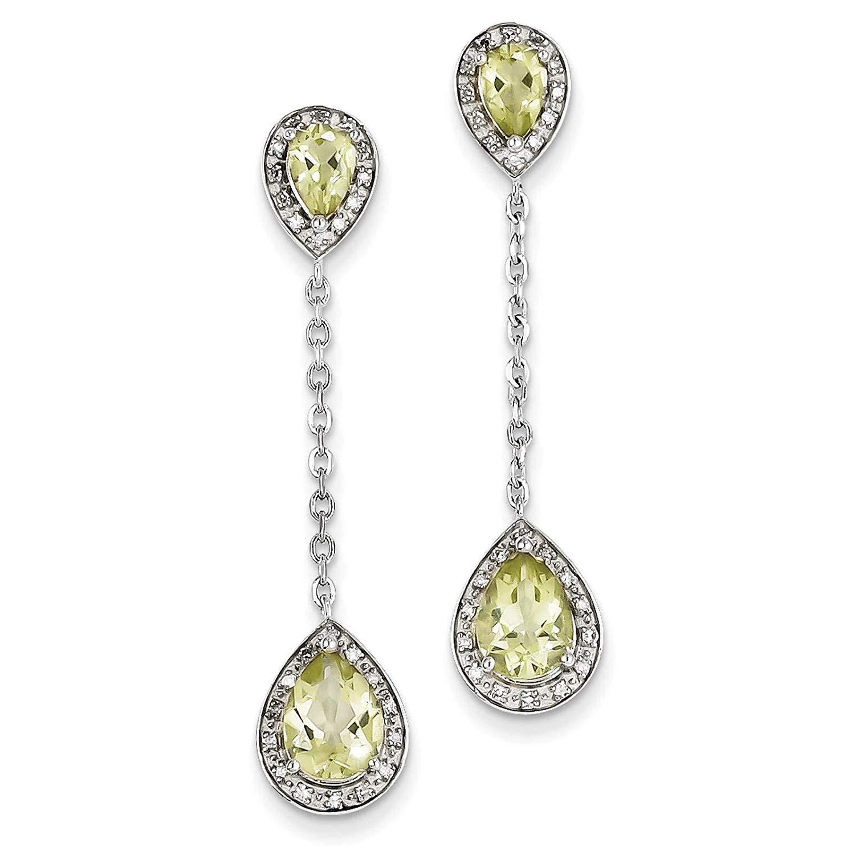 .925 Sterling Silver Polished Diamond & Lemon Quartz Dangle Teardrop Post Earrings