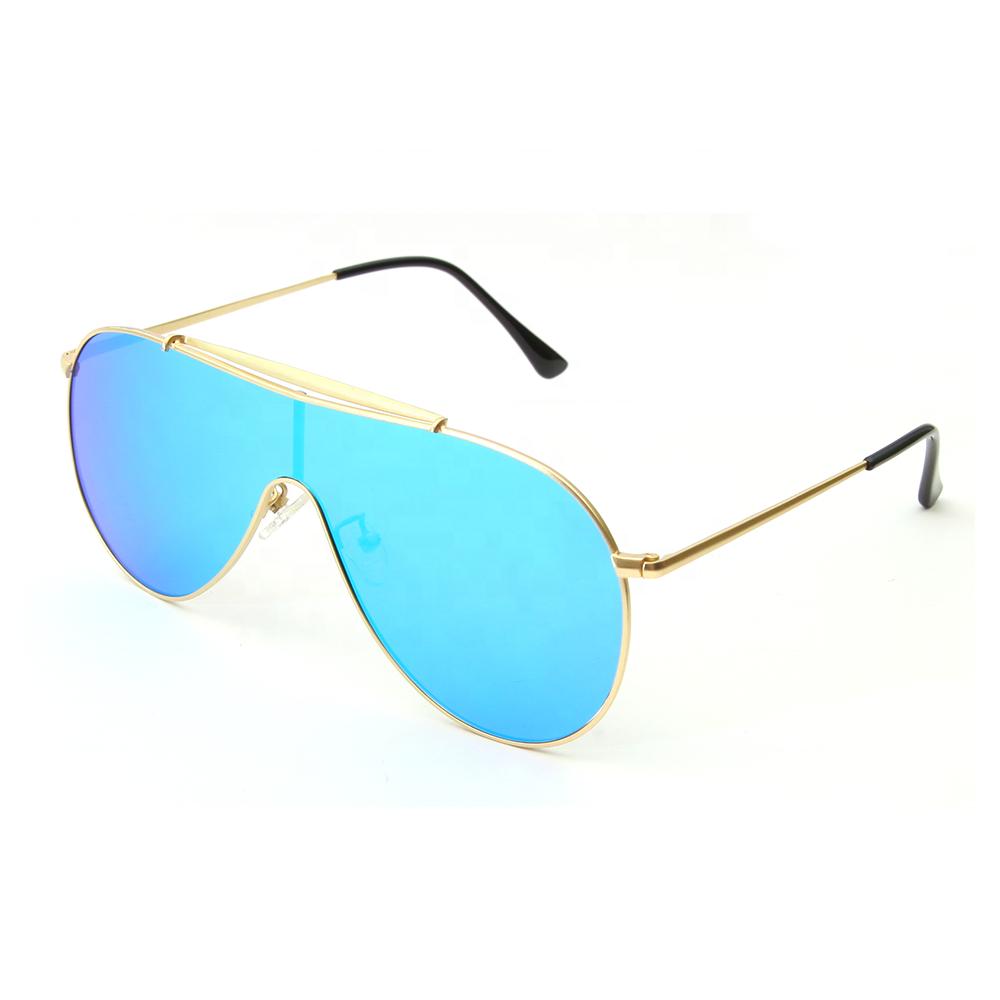 No Brand Cheap Price Oversized Big Metal Frame One Piece Lens Polarized Sunglasses