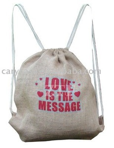 Drawstring jute backpack and pouch