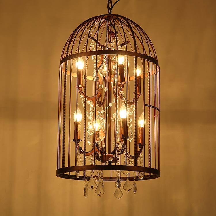 Loft vintage industrial style light black big size iron wire crystal chandelier bird cage pendant lamp