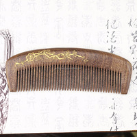 Personalized Golden Painted Handmade Sandalwood Afro Hair Comb