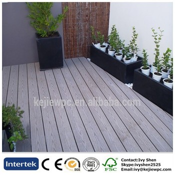 Wpc Exterior Floor Waterproof Wood Plastic Composite Decking Boards With Grooves Dark Grey Color