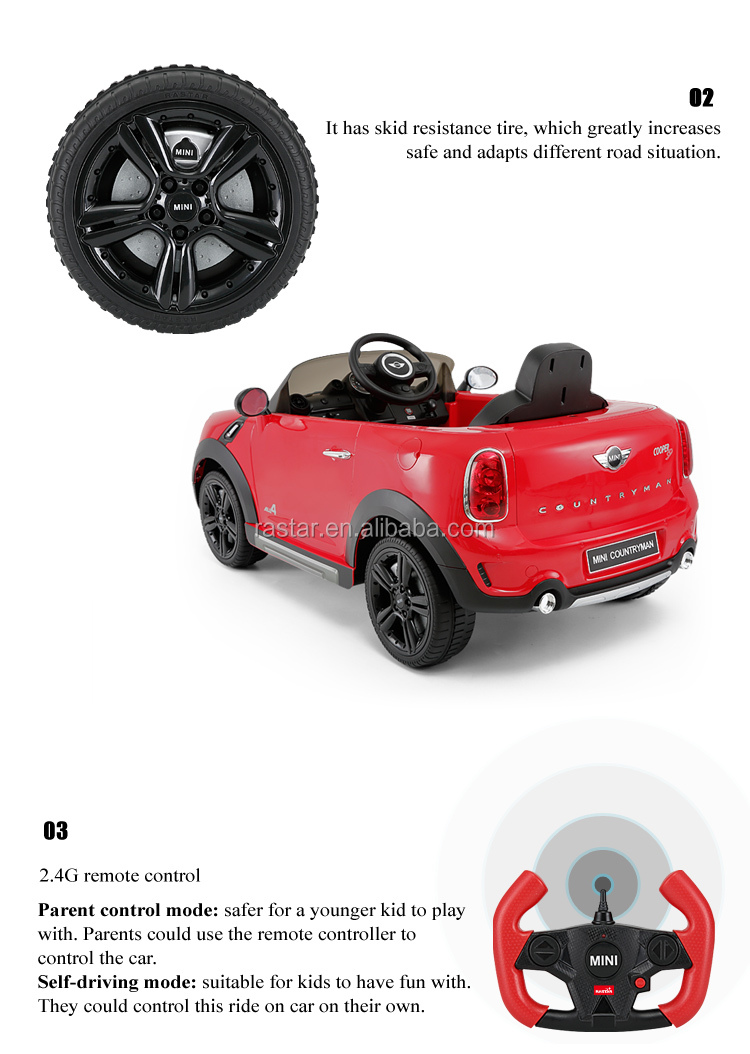 Rastar Remote Control baby toy electric car for kids ride on