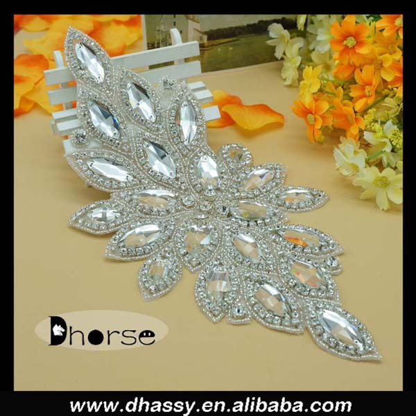 Wholesale Sew On Bling Rhinestone Applique For Wedding Dress Dh 523