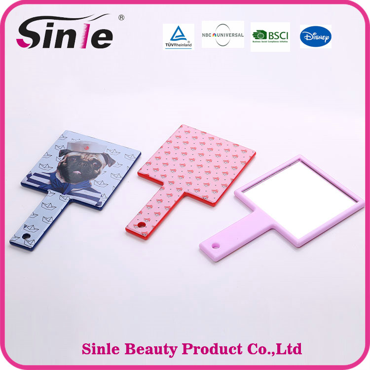 Silk Printing Square Small Custom Plastic Hand Pocket Makeup Mirror