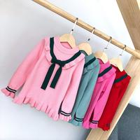 S11619B 2018 Brand New Autumn Winter Lovely Toddler Baby Girls Sweater Warm Tops Long Sleeve Solid Ruffles Pullover Tops
