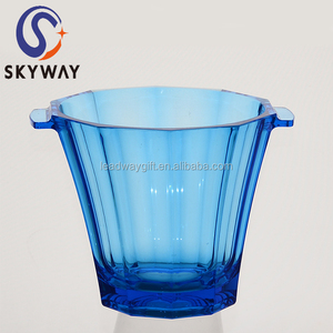 Transparent thickness 2L plastic beer ice bucket with handel