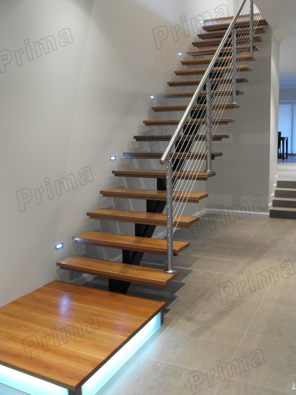 Inside House Timer Wood Staircase With Stainless Steel Handrail
