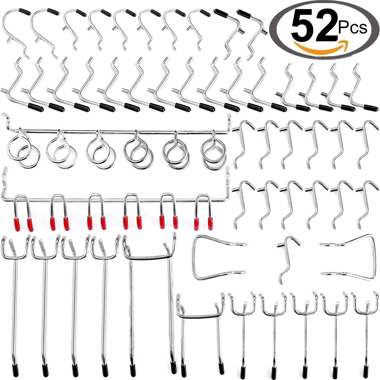Pegboard Hooks Accessories, 52-Piece Peg Board Hook Attachments Set