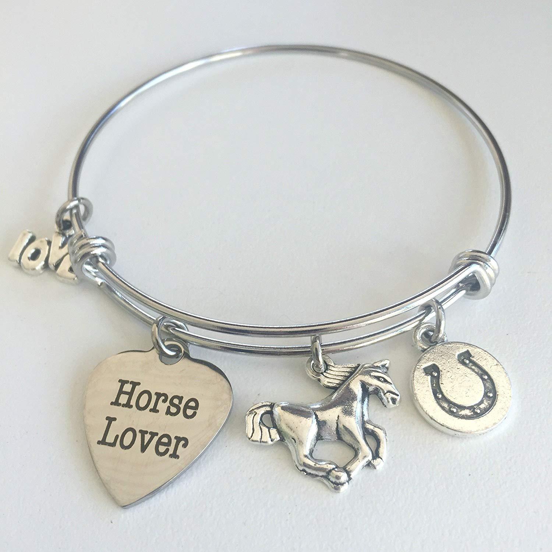 f9e44c2db33605 Get Quotations · Horse Lover Charm Bracelet - Expandable Horse Charm Bangle