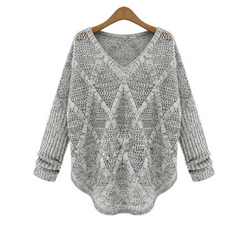 Pullover Female Autumn 2014 Batwing Oversized Poncho Sweater V-neck Loose Hollow Out Sweater Long Sleeve Knitted Sweaters B109