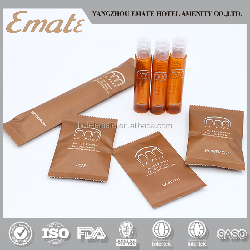 Amenities set hotel with customized paper sachet including dental kit vanity kit shower cap hotel cosmetics