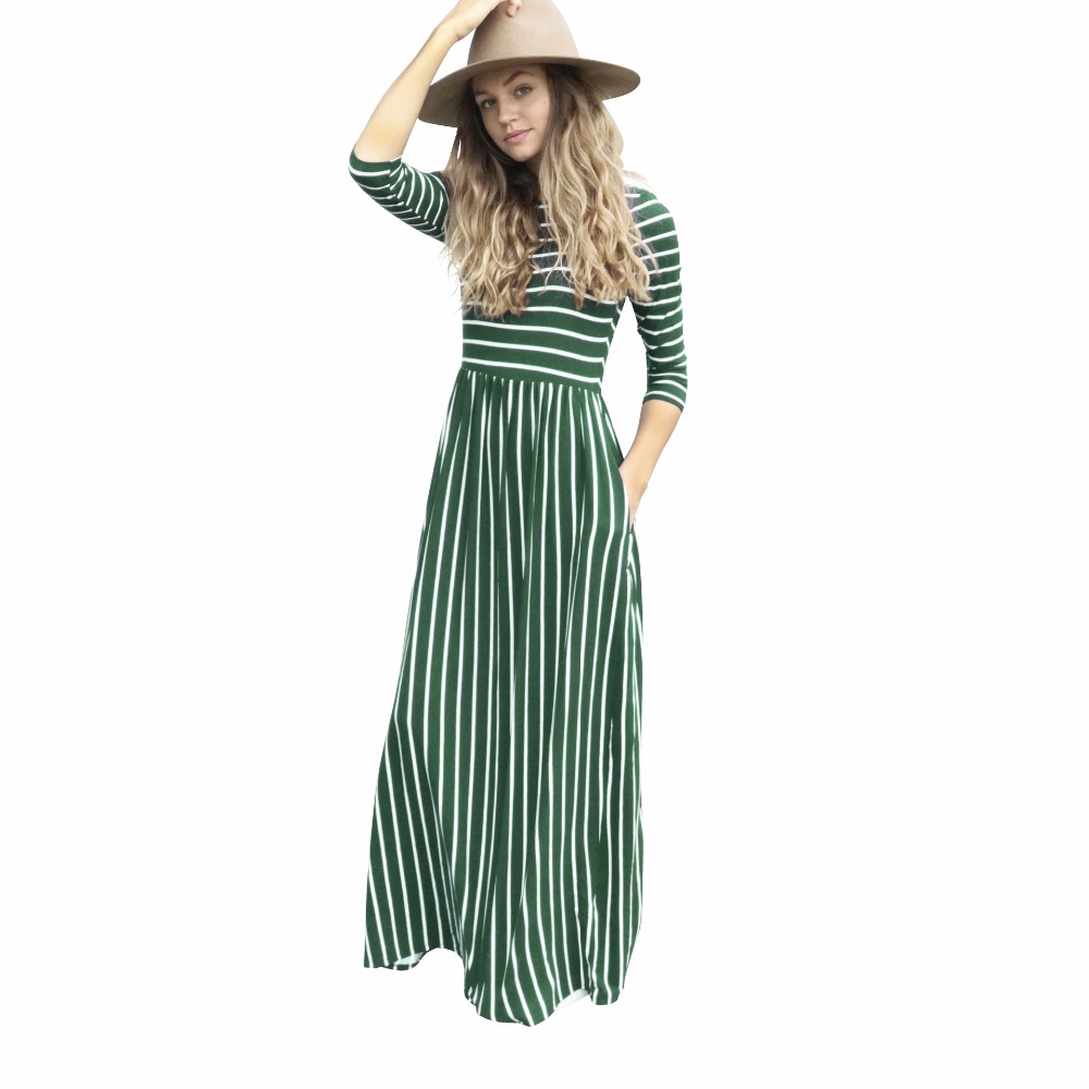 2018 Womens Striped Maxi Vintage long sleeve Tunic Maxi Dress 3/4 Sleeve Pocket Striped office Long Dresses Empire ladies
