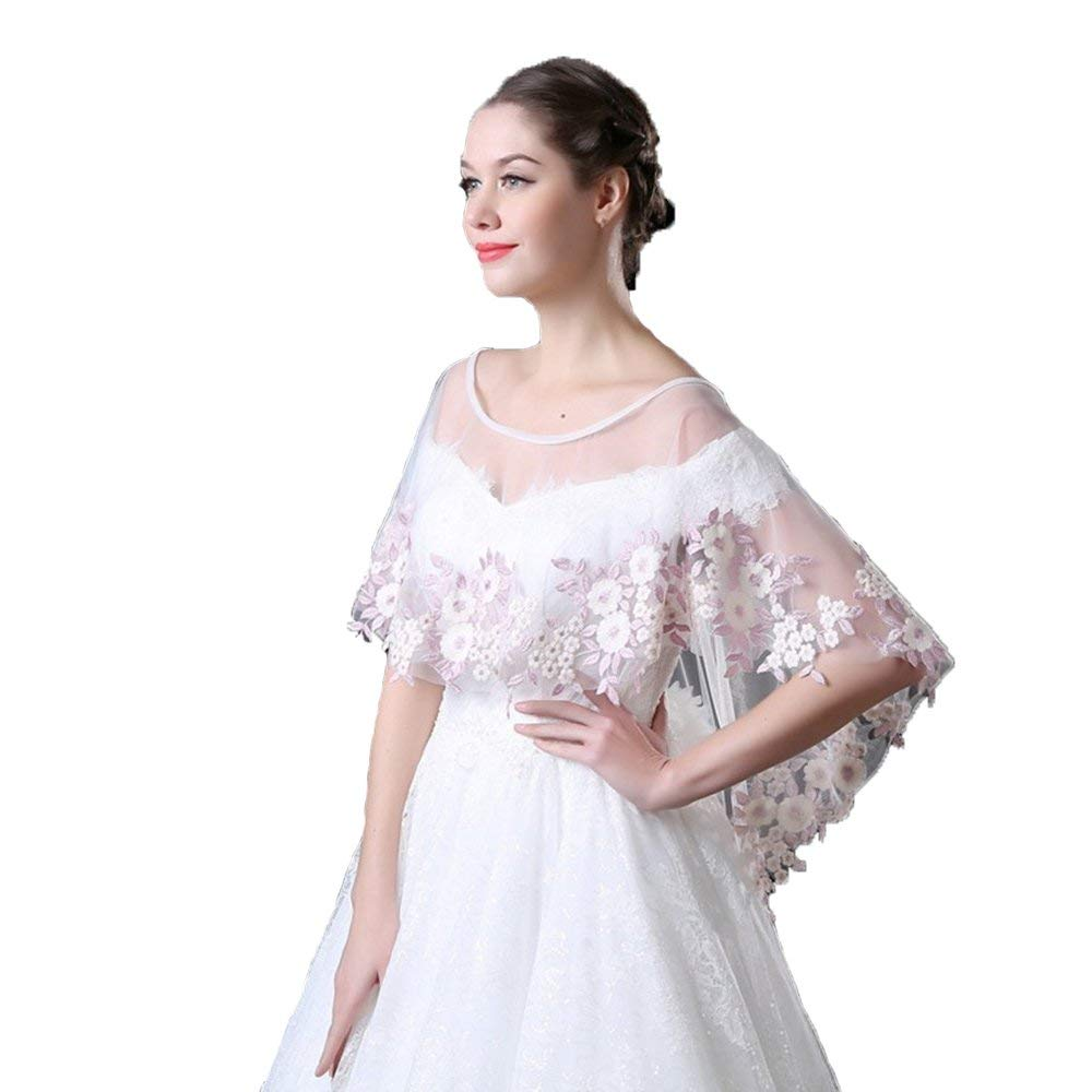 1c4867bc7b4 Get Quotations · Henglizh Plus Size Embroidered Lace Shrug Shawl Wrap Bolero  Wedding Jacket for Bride
