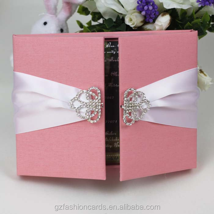 2015 Luxury Unique Wedding Invitation Box With Brooch