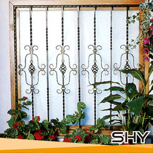 House design solid steel wrought iron window grill bars for Window grill design catalogue 2016