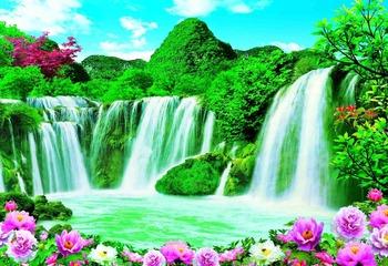 Beautiful Mountain Waterfall Scenery Paper Painting