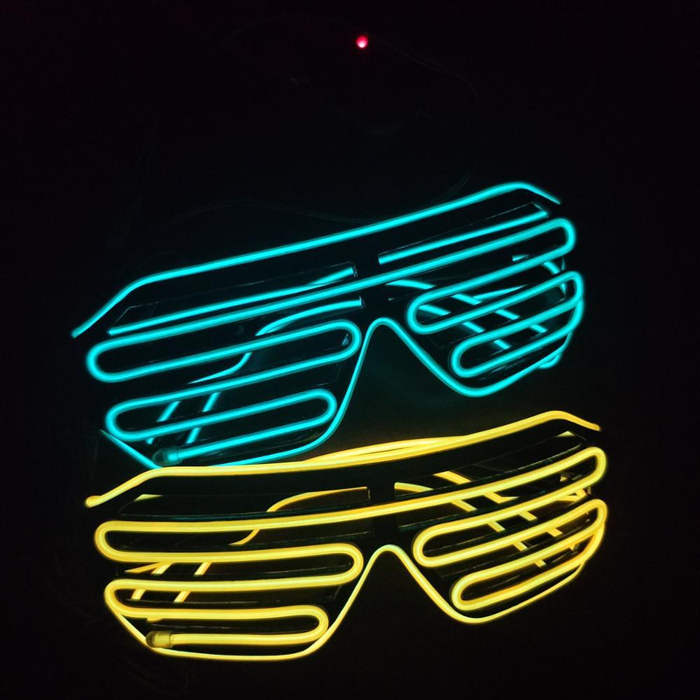 Led Glasses Light Up Shutter Shaped Sunglasses Neon El Wire Glasses ...