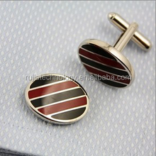 high quality oval cufflinks colorful stripe cufflink for men