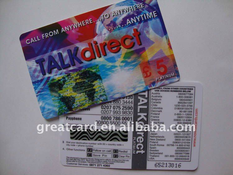 Talk Direct Pvc Scratch Card With Pin Number